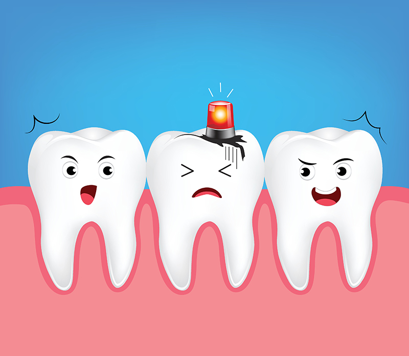Decayed tooth with siren. Dental care concept,  Illustration iso